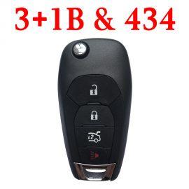 (433Mhz) 3+1 Buttons Flip Remote Key for Chevrolet Cruz 2016