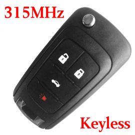 (315MHz) Keyless Go 3+1 Buttons Flip Remote Key for 2010-2017 Chevrolet Camaro Cruz Equinox Impala Malibu Sonic