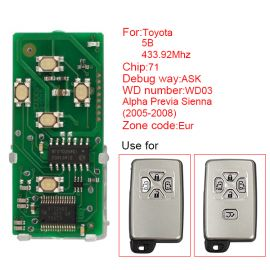 for Toyota Smart Card Board 5 Button 433.92MHz Number 271451-0780-Eur