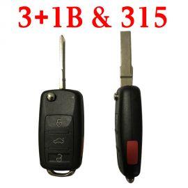 3+1 Buttons 315 MHz Flip Remote Key for VW Touareg A8 Bentley