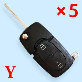 2 Buttons Flip Remote Key Shell for Audi with Large Battery Holder - 5 pcs
