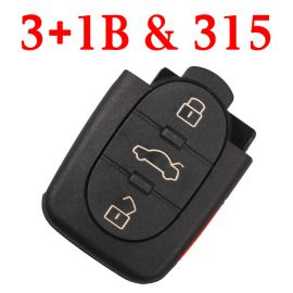 3+1 Buttons 315 MHz Remote Key for Audi - 4D0 837 231E