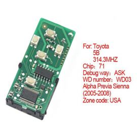 for Toyota Smart Card Board 5 Button 314.3 MHz Number 271451-0780-USA
