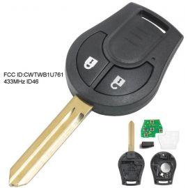 (434MHz) CWTWB1U761 - 2 Buttons Remote Head Key for Nissan Micra K14 2010-2018