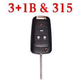 (315Mhz) 3+1 Button Flip Remote Key For Chevrolet Cruze Impala Equinox