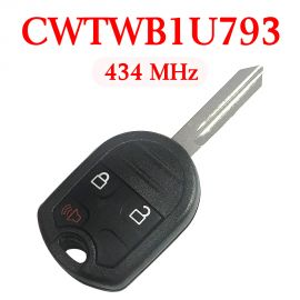 3 Buttons 434 MHz Remote Head Key for Ford / Mercury 2001-2018 - CWTWB1U793 (with 4D63 80 Bit Chip)