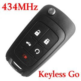 (433Mhz) Keyless Go 4+1 Buttons Flip Proximity Smart Key for Chevrolet