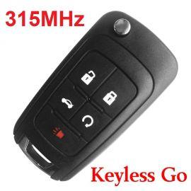 (315MHz) Keyless Go 4+1 Buttons Flip Proximity Key for Chevrolet