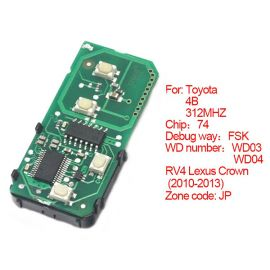 for Toyota Smart Card Board 4 Button 314.3MHz Number 271451-5290-USA