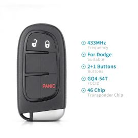 (434 MHz) M3N-40821302  2+1 Buttons Smart Proximity Key for Chrysler Dodge Journey Durango 2011-2018