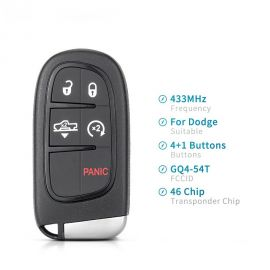 (434MHz) M3N-40821302  4+1 Buttons 434 MHz Smart Proximity Key for Dodge / Chrysler 2011-2018