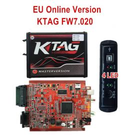 New 4LED Red PCB KTAG 7.020 EU Online Version SW V2.25 No Token Limited Support Full Protocols with GPT cable