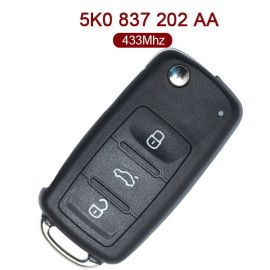 3 Buttons 434 MHz Flip Remote Key for VW - 5K0 837 202AA