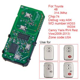 for Toyota Smart Card Board 4 Key 314.3 MHz Number 271451-3370-USA