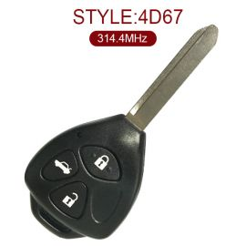 for Toyota Printer Friendly Tell A Friend Toyota 3 Button Remote Key (Toy47 Blade) 314.4MHz 67 Chip