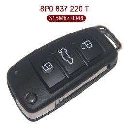3 Buttons 315 MHz Flip Remote  Flip Key for Audi - ID48 - 8P0 837 220T