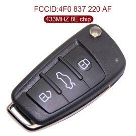Genuine Audi A6 Q7 Flip Proximity Key - 3 Buttons 433 MHz 8E Chip 4F0 837 220AF