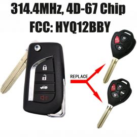 Remote Key 4 Buttons 315MHz 4D67 Chip for 2007-2010 Toyota Avalon Corolla FCC ID: HYQ12BBY