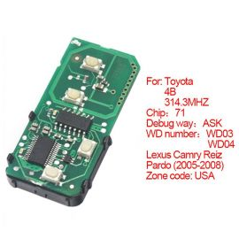for Toyota Smart Card Board 4 Key 314.3 MHz Number 271451-0140-USA