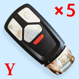 3+1 Buttons Flip Remote Key Shell FOB for Audi TT A4 A5 S4 S5 Q7 SQ7 2017 up - 5 pcs
