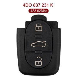 3 Buttons 433 MHz Flip Remote Key for Audi A6 TT - 4D0 837 231K