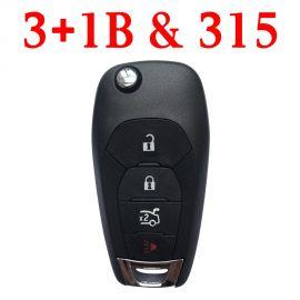 (315Mhz) 3+1 Buttons Flip Remote Key for Chevrolet Cruz 2016