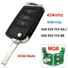 After-Market 434 MHz 3 Buttons MQB Flip Remote Key for VW
