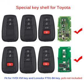 Smart Remote Key Shell Case for VVDI XM Smart Key and Lonsdor 8A Smart Key for Toyota Camry RAV4