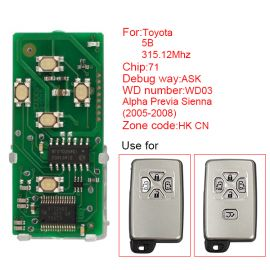 for Toyota Smart Card Board 5 Button 315.12MHz Number 271451-0780-HK-CN
