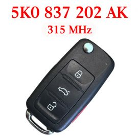 After-Market 315 MHz 3+1 Buttons Flip Remote Key for 2011-2016 Volkswagen - 5K0 837 202 AK