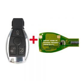 Xhorse VVDI BE Key Pro Improved Version XNBZ01EN PCB v1.5 with Smart Key Shell 3 Button for Mercedes Benz Complete Key Package Can get token for MB BGA