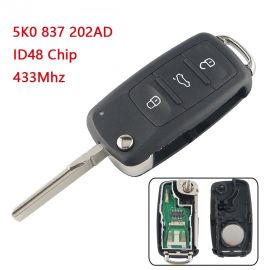 Remote Control Key for VW Polo Golf MK6 Tiguan Touareg 202AD 202H 202Q 3 Button 433MHz with 48 Chip