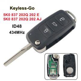 AK001035 for VW Flip Key 3 Button 434MHz ID48 Keyless-go 5K0 837 202 E