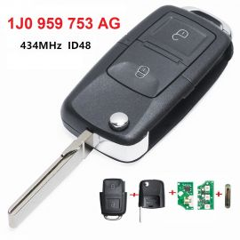 2 Buttons 434 MHz Remote Key for VW - 1J0 959 753AG