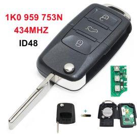 3 Buttons 434 MHz Flip Remote Key for VW Skoda Seat - 1K0 959 753N