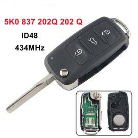 3 Button 434MHz Flip Remote Key for VW Golf Jetta ETC ID48 5K0 837 202Q 202 Q