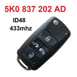 4+1 Button 433 MHz Flip Remote Key for VW Sharan with 48 Chip