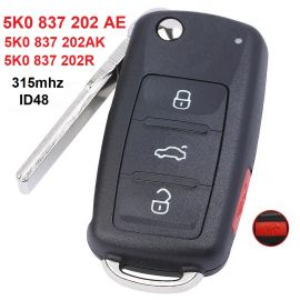 315 MHz 3+1 Buttons Flip Remote Key for 2011-2016 Volkswagen - 5K0 837 202 AE