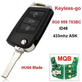 (433Mhz) Keyless Flip Remote Key For VW Golf Mk7 Skoda Octavia 5G0 959 753