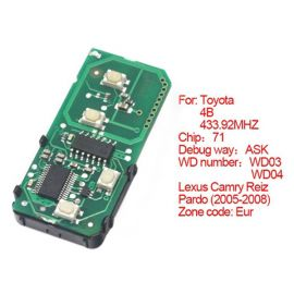 for Toyota Smart Card Board 4 Button 433.92MHz Number 271451-0140-Eu