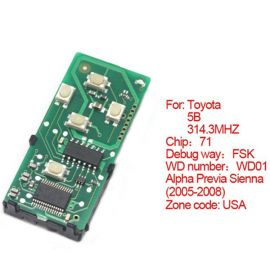 for Toyota Smart Card Board 5 Button 314.3MHz Number 271451-6221-USA