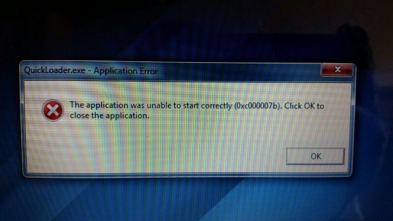 0x000007b error