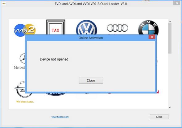FVDI error - device not opened